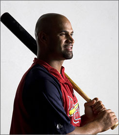In eight seasons with the Cardinals, Albert Pujols has hit .334 with 319 home runs and 977 RBI.