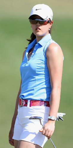 Michelle Wie watches her putt on No. 6 miss the hole last week during the J Golf Phoenix LPGA International. She returns to action this week in the Kraft Nabisco Championship, the season's first major.