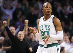 Celtics guard Ray Allen celebrates after making the game-winning three-pointer in double overtime.