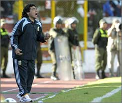 Argentina coach Diego Maradona shouts to his players during a 6-1 loss at Bolivia.
