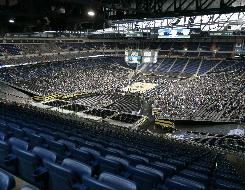 The panoramic view from section 347, row 21, seat 35 at Ford Field as one of the Final Four teams practice on Friday.