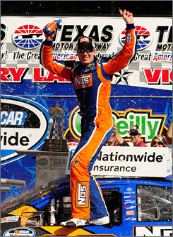 Kyle Busch won his second Nationwide race of the year and his third in a row at Texas Motor Speedway.