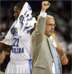 North Carolina coach Roy Williams will bid for the school's second championship in five years on Monday night.