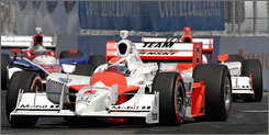 Ryan Briscoe, who started fourth, sets the pace on the streets of St. Petersburg.