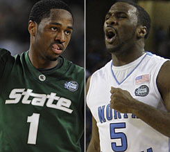 Michigan State guard Kalin Lucas, left, and North Carolina guard Ty Lawson -- both players of the year in their respective conferences -- will square off for the NCAA title Monday night.