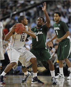 Kalin Lucas (1) and Michigan State helped prove the Big Ten was no slouch in basketball, giving the conference its 10th Final Four team in 11 years by defeating Big East juggernauts and No. 1 seeds Louisville and Connecticut.