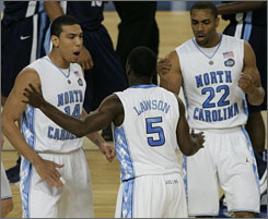 North Carolina will lose senior star Danny Green, left, after this season and juniors Ty Lawson and Wayne Ellington will likely follow Green and Tyler Hansbrough and depart Chapel Hill.