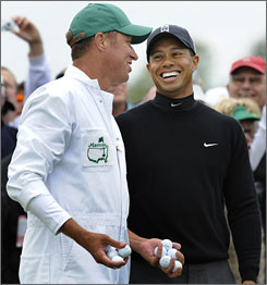 Tiger Woods will be smiling on Sunday afternoon if he can win his fifth Masters.