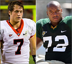Georgia QB Matt Stafford, left, and Baylor left tackle Jason Smith are both contenders for the No. 1 overall NFL draft selection, held by the Detroit Lions.