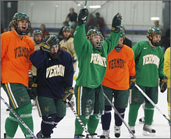 From left, Vermont's Viktor Stalbert, Dean Strong, Justin Milo, Colin Vock and Brian Roloff hope to bring the Catamounts full circle since their last Frozen Four appearance in 13 years and a near-crippling hazing scandal 10 years ago.