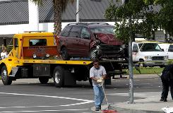 The minivan that drunk driver Andrew Gallo was driving when he hit Nick Adenhart's vehicle is seen on the back of a truck. Murder charges will possibly be pressed against Gallo.