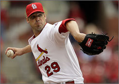 Cardinals pitcher        Chris Carpenter, making just his fifth start since the end of the 2006 season, tossed six no-hit innings in his 2009 debut.