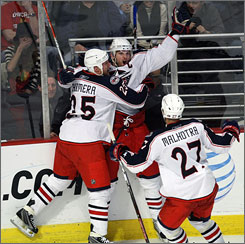 Columbus' Rick Nash, shown scoring the game-tying goal against Chicago earlier this week, finally has a chance to shine in the playoffs.