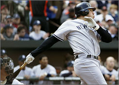 Yankees new slugger Mark Teixeira connects for his first home run of the season to help lead the club to its first victory of the season.