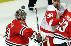 Chicago goalie Nikolai Khabibulin wrapped up the season with a shutout. He'll face the Calgary Flames, the team he vanquished in the 2004 Stanley Cup Finals while with the Tampa Bay Lightning. 
