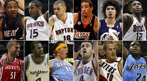 The 2009 All Rambis team (clockwise from top left): Udonis Haslem, Al Horford, Anthony Parker, Andre Miller, Anderson Varejao, Luc Mbah a Moute, Paul Millsap, Joel Przybilla, Nick Collison, Chris Andersen, Michael Finley and Shane Battier.