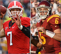 Georgia's Matthew Stafford, left, and Southern California's Mark Sanchez are the two top-rated quarterbacks in the NFL draft class.