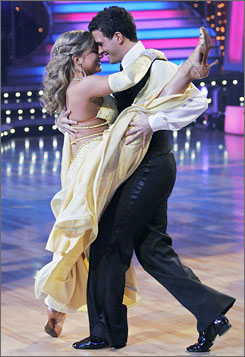 "Shawn Johnson cuts a mean rug with Mark Ballas on ""Dancing with the Stars."" Wednesday, Johnson won the Sullivan Award as the USA's leading amateur athlete and remains to win the TV event."
