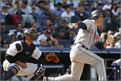 Indians center fielder    Grady Sizemore broke the game open with grand slam in the seventh inning off    Damaso Marte.