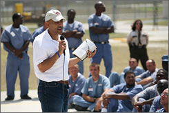 "Helping inmates change their post-sentence fortunes has become a post-football priority for former Colts coach Tony Dungy. ""He could have absolutely been doing anything else, but decided to spend time with us,"" said Traveguz Butler, an inmate at Florida's Hardee Correctional Institutition. ""It's uplifting. I'm glad that he was able to lower himself down to our level."""
