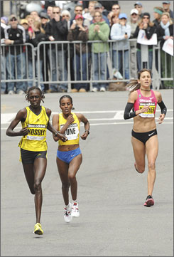 The finishing order of the women's event at the Boston Marathon was revealed with less than half-a-mile to go. Salina Kosgei of Kenya took the lead and won ahead of Dire Tune of Ethiopia and American Kara Goucher.
