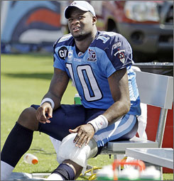 Vince Young started the first game of the season for the Titans before a knee injury opened the door for Kerry Collins.