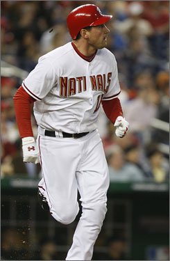 Ryan Zimmerman, batting .275 with two homers and 10 RBI this season, was the Nationals first round pick in 2005.