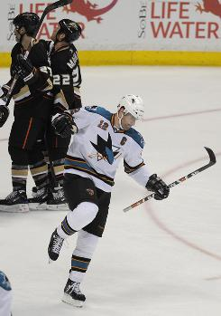 The Sharks' Patrick Marleau celebrates his goal against the Ducks in Anaheim, Calif., that gave San Jose a 4-3 victory and made the series 2-1 in favor of the Ducks.
