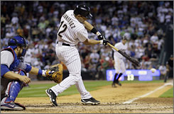 Ivan Rodriguez drives in the game-winning run in the eighth inning with a single to center to score Hunter Pence from third base.