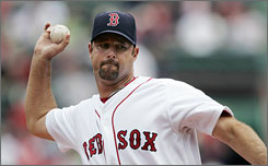 Red Sox pitcher       Tim Wakefield used his knuckleball for his second complete game victory.