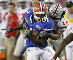 Florida tight end Cornelius Ingram averaged 15 yards per catch in 2007, before missing last year with a torn ACL.