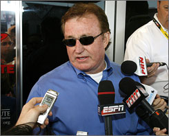 NASCAR team owner Richard Childress answers questions about his racing teams during Friday's practice for the Aaron's 499 Sprint Cup race at Talladega Superspeedway.