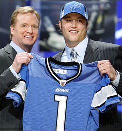 Matthew Stafford now has the pressure of being the No. 1 overall pick when he starts his career with the Detroit Lions.