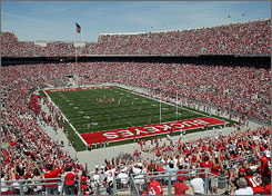 Ohio State's stadium filled to near capacity for the annual Buckeyes spring game.