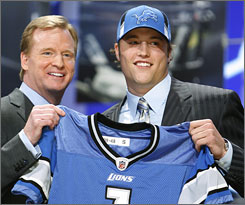 Former Georgia QB Matthew Stafford met commissioner Roger Goodell as the first player taken in Saturday's draft.