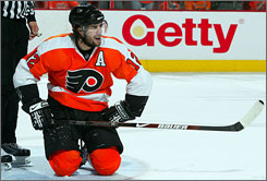 Philadelphia's Simon Gagne takes a breather during the Flyers' Game 6 defeat in the first round of the Stanley Cup playoffs.