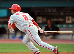 Phillies'    Shane Victorino goes 2-for-5 and drives in four of the 13 runs against the Marlins.