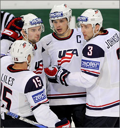 Dustin Brown, center, celebrating a goal by Patrick O'Sullivan in Team USA's win over Austria on Monday, is expected to provide scoring and leadership at this year's world championship.
