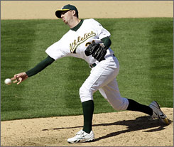 Sidearm closer Brad Ziegler has four saves in five opportunities and a 1.74 ERA in eight appearances for the Athletics.