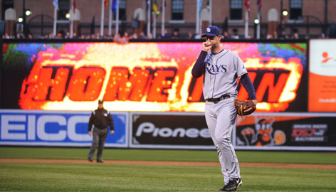 Tampa Bay Rays starting pitcher Jeff Niemann reacts after giving a up a grand slam home run to Orioles third baseman Melvin Mora during an April 11 game at Camden Yards in Baltimore. Camden Yards led the majors last season in percentage of home runs hit.