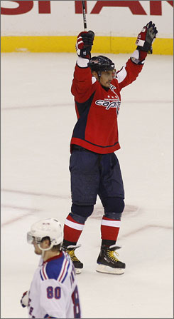 Washington's Sergei Fedorov celebrates his decisive goal in the Capitals' Game 7 win over the New York Rangers on Tuesday night.