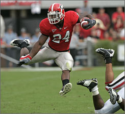 Georgia standout       Knowshon Moreno, picked No. 12 overall, is likely to be Denver's featured running back and thus worthy of fantasy consideration as a rookie.