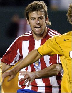 Chris Taylor, shown in this 2005 photo when he played for MLS' Chivas USA, has found success in Germany's second division with TuS Koblenz.