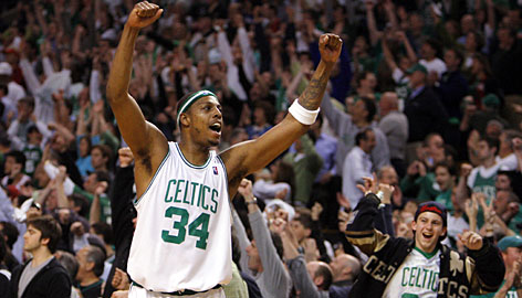 Celtics forward Paul Pierce celebrates in the waning moments of Game 7. Pierce scored 20 points in Boston's series-clinching victory.
