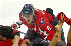 Alex Ovechkin celebrates one of his third-period goals in the Washington Capitals' 4-3 Game 2 win over the Pittsburgh Penguins on Monday night. Washington took a 2-0 series lead.