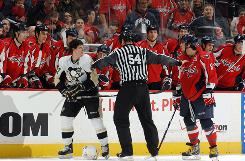 A referee had to separate Washington's AlexOvechkin and Pittsburgh's Sidney Crosby when the two squads faced off in Washington on Feb. 22. They are considered the best two players in the NHL and it is difficult to separate the two and decide who is No. 1.