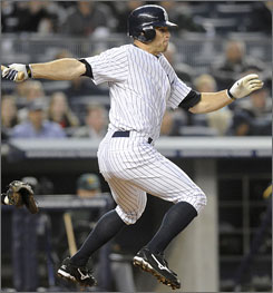 Yankees' Brett Gardner follows famous players in center such as Joe DiMaggio and Mickey Mantle.  