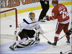 Jiri Hudler whacked a puck out of the air past Ducks goalie Jonas Hiller in the second period for one of four Red Wings goals in Game 5.