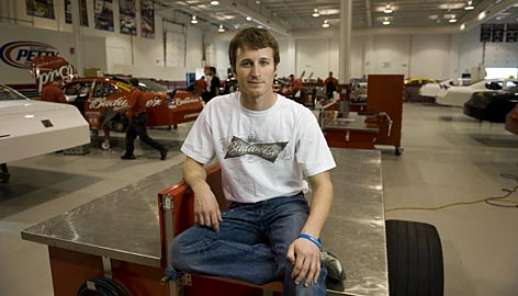 Kasey Kahne holds court over the race shops at Richard Petty Motorsports, a team born from the offseason merger of the former Gillett Evernham and Petty Enterprises teams.