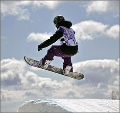 Kjersti Buaas gets air off the ramp at the U.S. Open Snowboard Championships at Stratton Mountain Resort in Stratton, Vt.